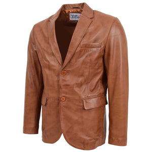 Mens Leather Blazer Two Button Jacket Zavi Tan 3