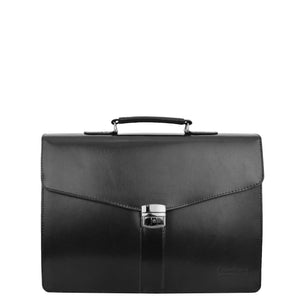 Mens Leather Flap Over Briefcase Dunkirk Black 2