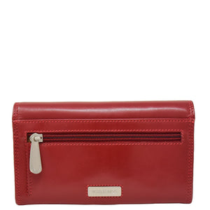 Womens Envelope Style Leather Purse Mary Red 3