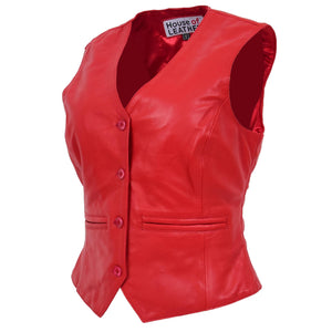 Womens Leather Classic Buttoned Waistcoat Rita Red 3