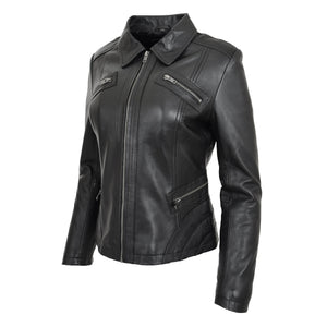 Womens Classic Leather Biker Zip Box Jacket Nova Black 3