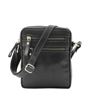 Mens Leather Cross Body Flight Bag Belgrade Black 2