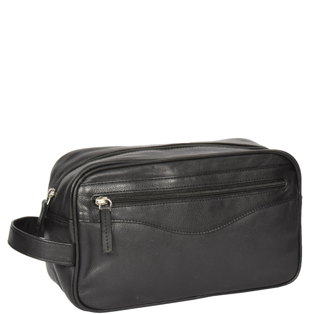 leather wash bag with a zip pocket