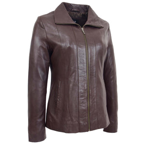 Womens Classic Zip Fastening Leather Jacket Julia Brown 3