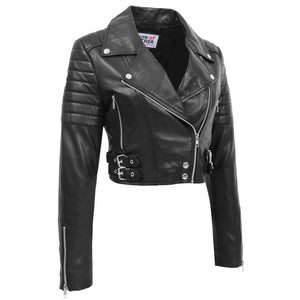 Womens Leather Cropped Biker Style Jacket Demi Black 3