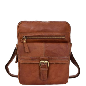 Mens Leather Cross Body Classic Flight Bag Ashton Tan 2