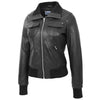 Womens Leather Classic Bomber Jacket Motto Black 3