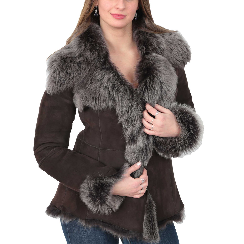 womens leather sheepskin coat