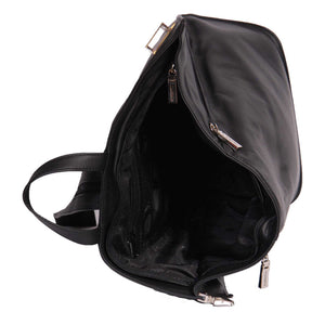 leather backpack with a zip opening