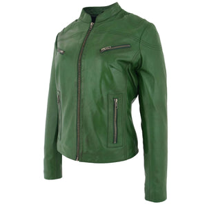 Womens Leather Standing Collar Jacket Becky Green 2