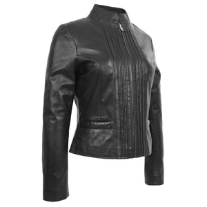 Womens Leather Casual Standing Collar Jacket Ivy Black 2