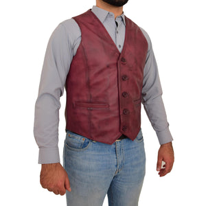 Mens Button Fastening Leather Waistcoat Nick Burgundy side 1