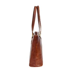 Womens Leather Classic Shopper Bag Sadie Tan 3