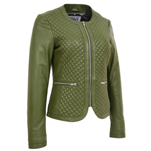 Womens Leather Collarless Jacket with Quilt Design Joan Olive Green 2