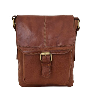Mens Leather Cross Body Flight Bag Oldenburg Tan 2