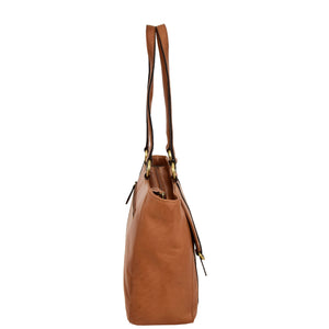 Womens Leather Classic Shopper Fashion Bag Sadie Tan side
