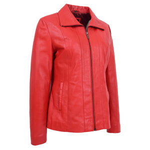Womens Classic Zip Fastening Leather Jacket Julia Red 3