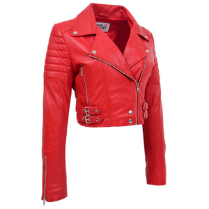 Womens Leather Cropped Biker Style Jacket Demi Red 3