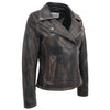 Womens Soft Leather Cross Zip Biker Jacket Lola Vintage Black 2