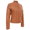 Womens Leather Casual Standing Collar Jacket Ivy Tan 3