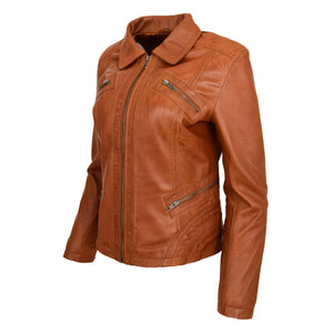 Womens Classic Leather Biker Zip Box Jacket Nova Tan