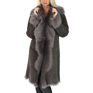 real fur coat with outside suede