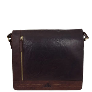 Mens Leather Flap Over Cross Body Bag Bristol Brown 2