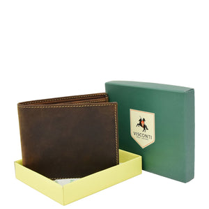 Mens Leather Slim Fold Wallet Prague Oil Tan 4