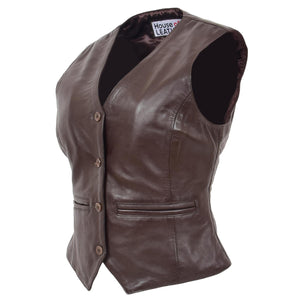 Womens Leather Classic Buttoned Waistcoat Rita Brown 3