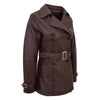 Womens Leather Double Breasted Trench Coat Sienna Brown 4