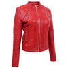 Womens Leather Classic Biker Style Jacket Alice Red 3