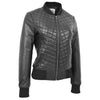 Womens Leather Varsity Quilted Bomber Jacket Sally Black 3