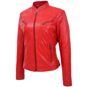 Womens Leather Standing Collar Jacket Becky Red 3