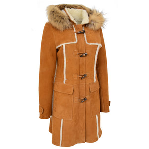 Womens Sheepskin Duffle Coat 3/4 Length Parka Beth Tan White 3