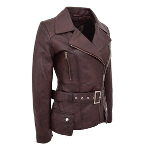 Womens Leather Hip Length Biker Jacket Celia Brown 4