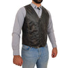 Mens Button Fastening Leather Waistcoat Nick Black Vintage side 2