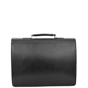 Mens Faux Leather Flap Over Briefcase Windsor Black 1