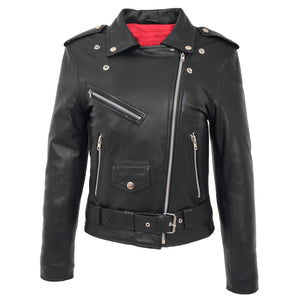 Womens Leather Biker Brando Style Jacket Holly Black 2