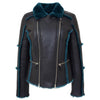 Womens Sheepskin Aviator Pilot Jacket Valerie Black Green 2