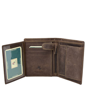 Mens Single Fold Real Leather Wallet Zurich Brown 4