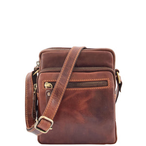 Mens Leather Cross Body Flight Bag Dolton Brown 2