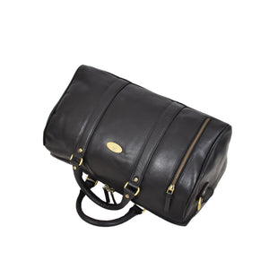 Leather Holdall Small Size Barrel Shape Duffle Bag Athens Black top