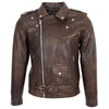 Mens Heavy Duty Leather Biker Brando Jacket Kyle Antique Brown 2