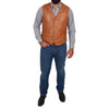 waist length leather waist coat