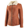 Womens Sheepskin Mid Length Coat Scarlett Whiskey 2