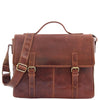 Mens Leather Cross Body Flap Over Briefcase Marland Brown 2