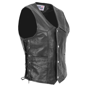 Mens Real Leather Gilet with Side Tassel Feature Jax Black 2
