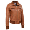 Womens Leather Classic Bomber Jacket Motto Tan 2