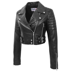 Womens Leather Cropped Biker Style Jacket Demi Black 4