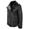 Womens Sheepskin Aviator Cross Zip Pilot Jacket Lena Black 3
